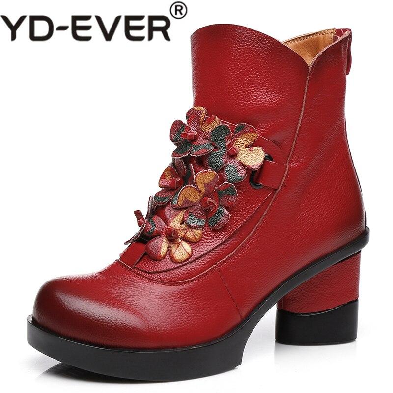Talons Cheville Main Femme Hauts Noir Chaussures rouge D'hiver En Cuir Mode Automne Casual La Épais Femmes De Véritable Yd À Bottes bleu ever TxUHOO