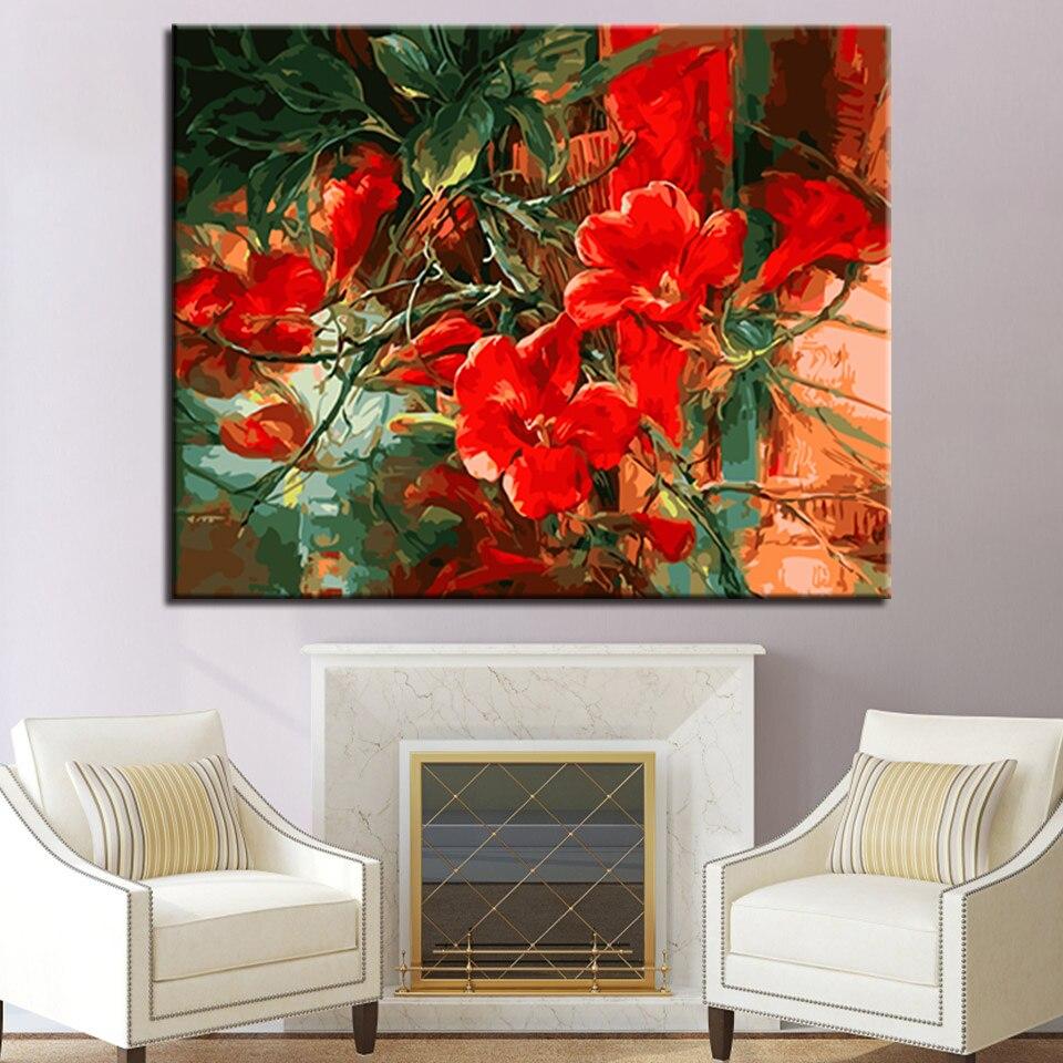 Framework Wall Art Modular Abstract Beautiful Red Flowers ...