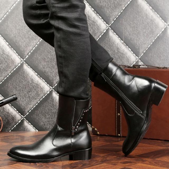 Nuevo Diseño de Otoño Invierno Botas Hombre Botines Punta estrecha Masculinos Zapatos Que Caminan Ocasionales Sapato masculino