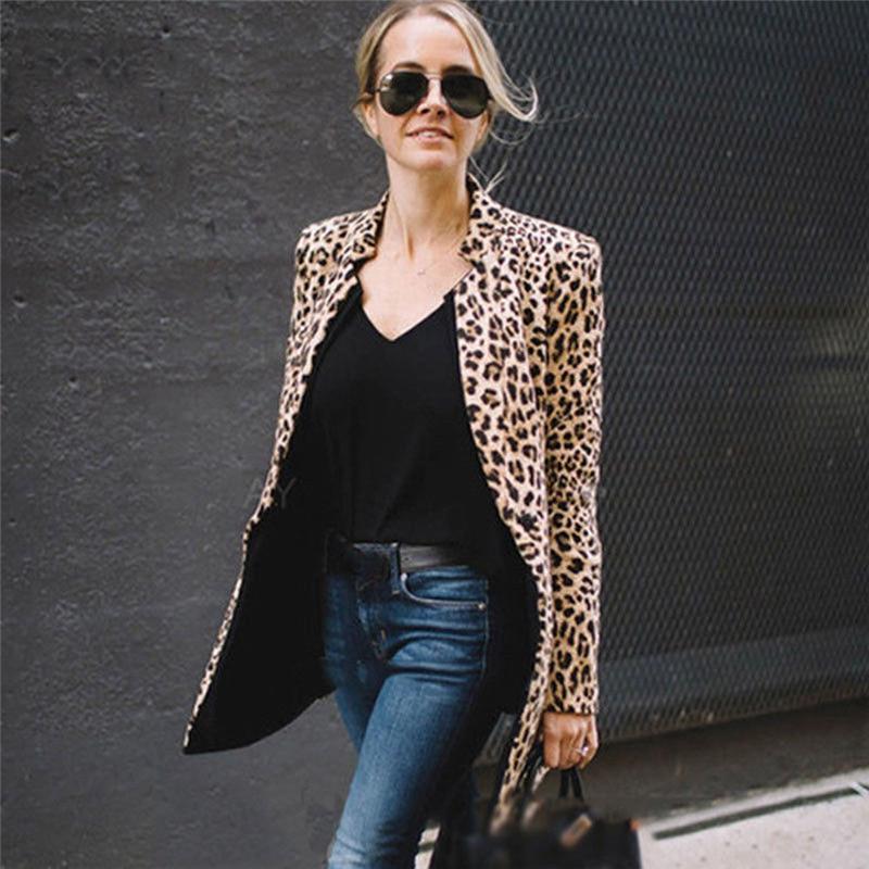 2019 Sexy Ladies Blazer Leopard Print Blazer Women's Long Sleeve Coat Notched Outwear