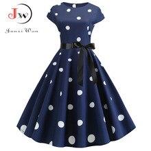 2020 여성 여름 드레스 빈티지 꽃 프린트 로커 빌리 드레스 로브 Femme Sundress Vestidos 플러스 사이즈 폴카 도트 파티 드레스