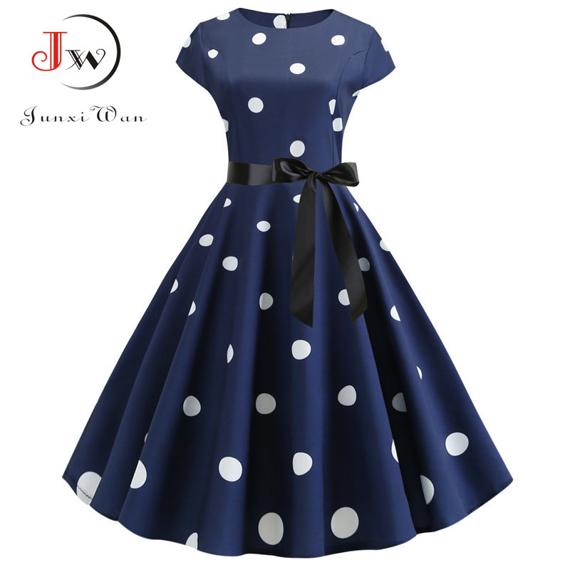 2020 Women Summer Dress Vintage Floral Print Rockabilly Dress Robe Femme Sundress Vestidos Plus Size Polka Dot Party Dress