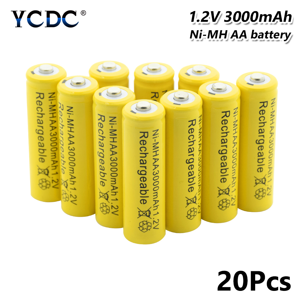 High Performance Ni-mh Aa Battery 1.2v 3000mah Rechargeable Li-ion Cell 20pcs For Laser Pen Led Flash Light Cell Battery Holder Power Source Batteries