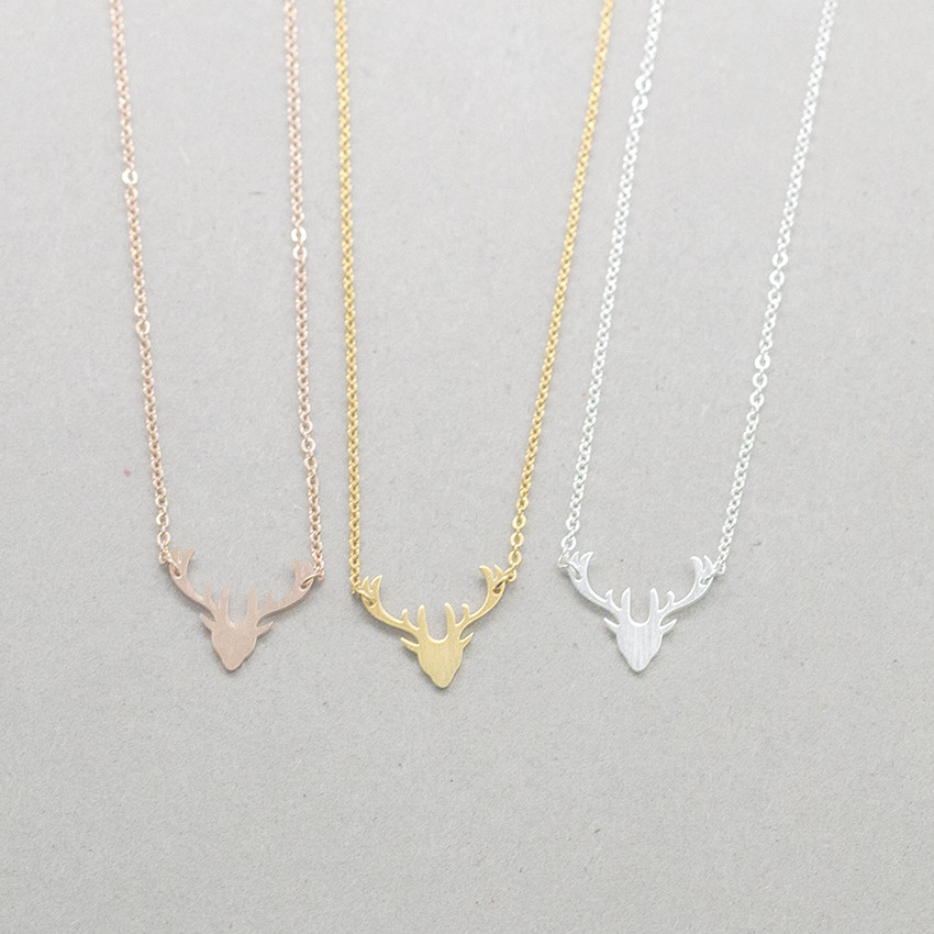 V Attract Christmas Rein Deer Wild Animal Necklace Women Christmas Gift Fashion Stailness Steel Chain Collier Femme image
