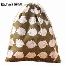 Hot Fashion Unisex Cotton and Hemp Backpack Printing Bags Drawstring shopping bag  Drawstring Pouch simple Large Capacity Bag