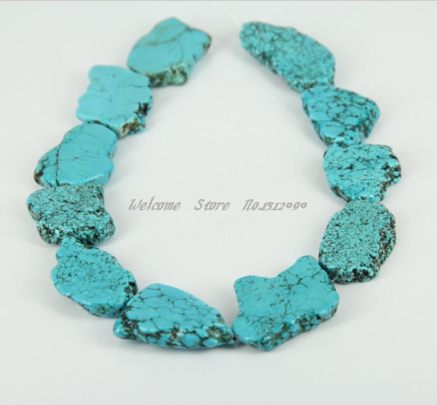 Large Howlite Slice Beads,Sky Blue Drilled Slab Beads Freeform Pendants DIY Necklace Jewelry,20-28×26-38mm