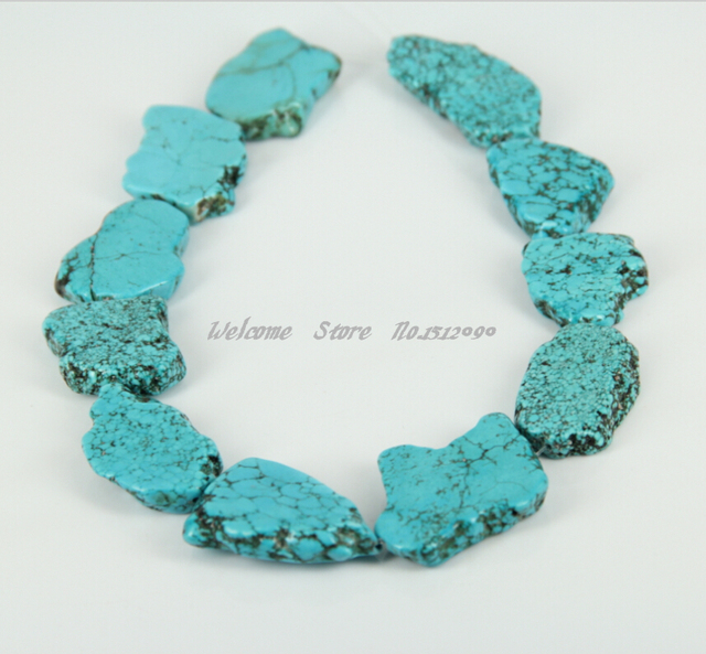 US $12 88 |Large Howlite Slice Beads,Sky Blue Drilled Slab Beads Freeform  Pendants DIY Necklace Jewelry,20 28x26 38mm-in Beads from Jewelry &