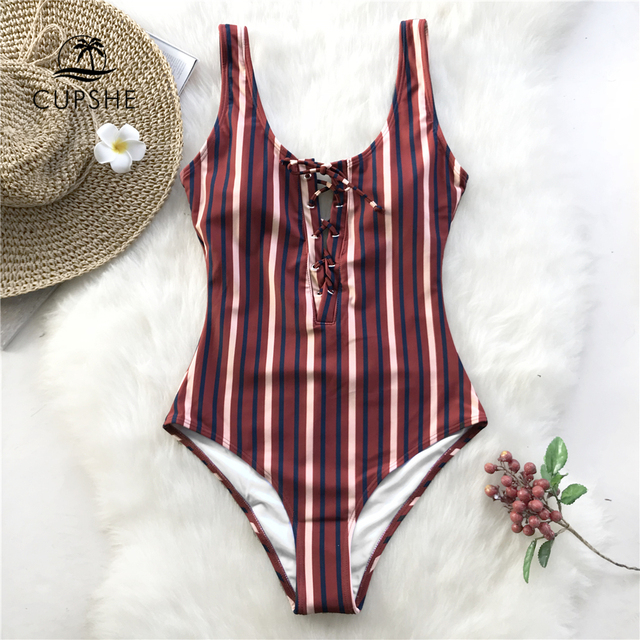 d4aff92ad9 CUPSHE Maroon Striped Lace Up One-piece Swimsuit Women Cutout Backless  Monokinis 2018 New Girl Beach Bathing Suits Swimwear