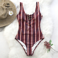 CUPSHE Maroon Striped Lace Up One piece Swimsuit Women Cutout Backless Monokinis 2018 New Girl Beach Bathing Suits Swimwear