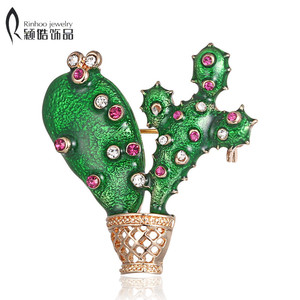 Green Enamel Cactus Brooch pin Kids Lady Crystal Plant Brooches Corsage Suit Scarf Dress Decoration Gold-color Jewelry Bijoux