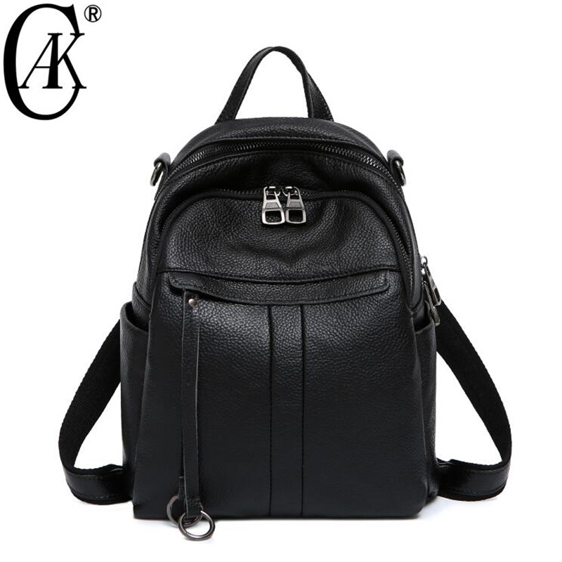 CAK Brand Backpack Women Backpacks Genuine Leather Fashion Small School Bags for Girls Black Natural Cow Leather Female Backpack imido brand design female backpack women bags split leather genuine backbag casual girls school shoulder backpacks black sld069