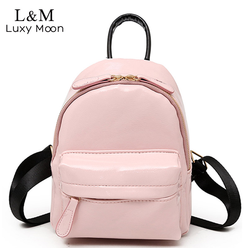 a90c486f83 Luxy moon Girls Bags Candy Color Fashion Women Backpack Patent Leather Mini  Backpacks Cute Kids Back Pack Pink Mochila XA343H-in Backpacks from Luggage  ...