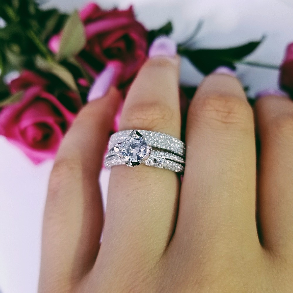 Moonso  Real 925 Sterling Silver Ring For Women Engagement Wedding Ring Set  Jewelry Zircona LR4606S