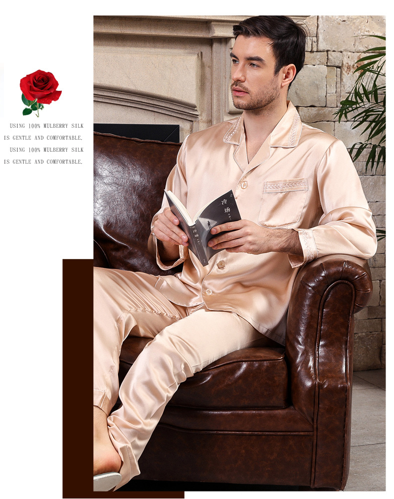 Nobility Spring Autumn Heavy Men's 100% Silk Pajamas Long Sleeve Nightgown Top+Pants Silk Pyjama Set Sleepwear Home Clothing