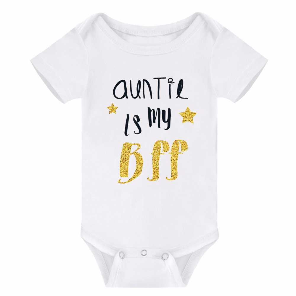Newborn Toddler Baby Boys Girls Rompers Auntie Uncle Family Onesies Short Sleeve Cotton Summer Top ...