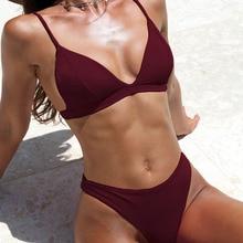 Women Bikini Sets Triangle Push Up High Waist Orange Pink Red White
