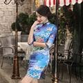 Slim fit Women Dress Chinese Tradition Clothing Qipao Short Cheongsam Beading Summer style Evening Dress