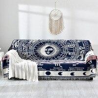 Fio de algodão tecelagem sofá toalha constelação mediterrâneo retro sofá cobertor xadrez lance literária tapeçaria sofá almofada 2019