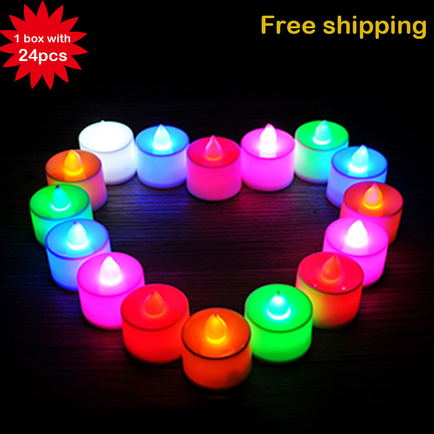 24Pcs/lot Plastic 6 Colors Candle Shape LED Flicker Light Flameless Candle Light For Romantic Wedding Party Holiday Decoration