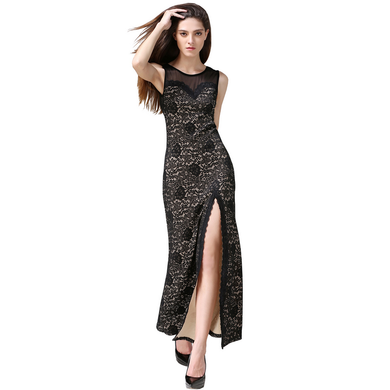 Buenos Ninos manches longues dentelle transparente Applique côté fente robes de soirée magnifiques robes