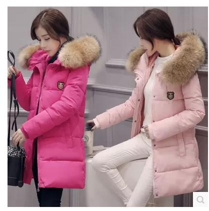 все цены на  Winter new Korean cotton coat female long section of the big collar collar body thickening down jacket large size hooded jacket  онлайн