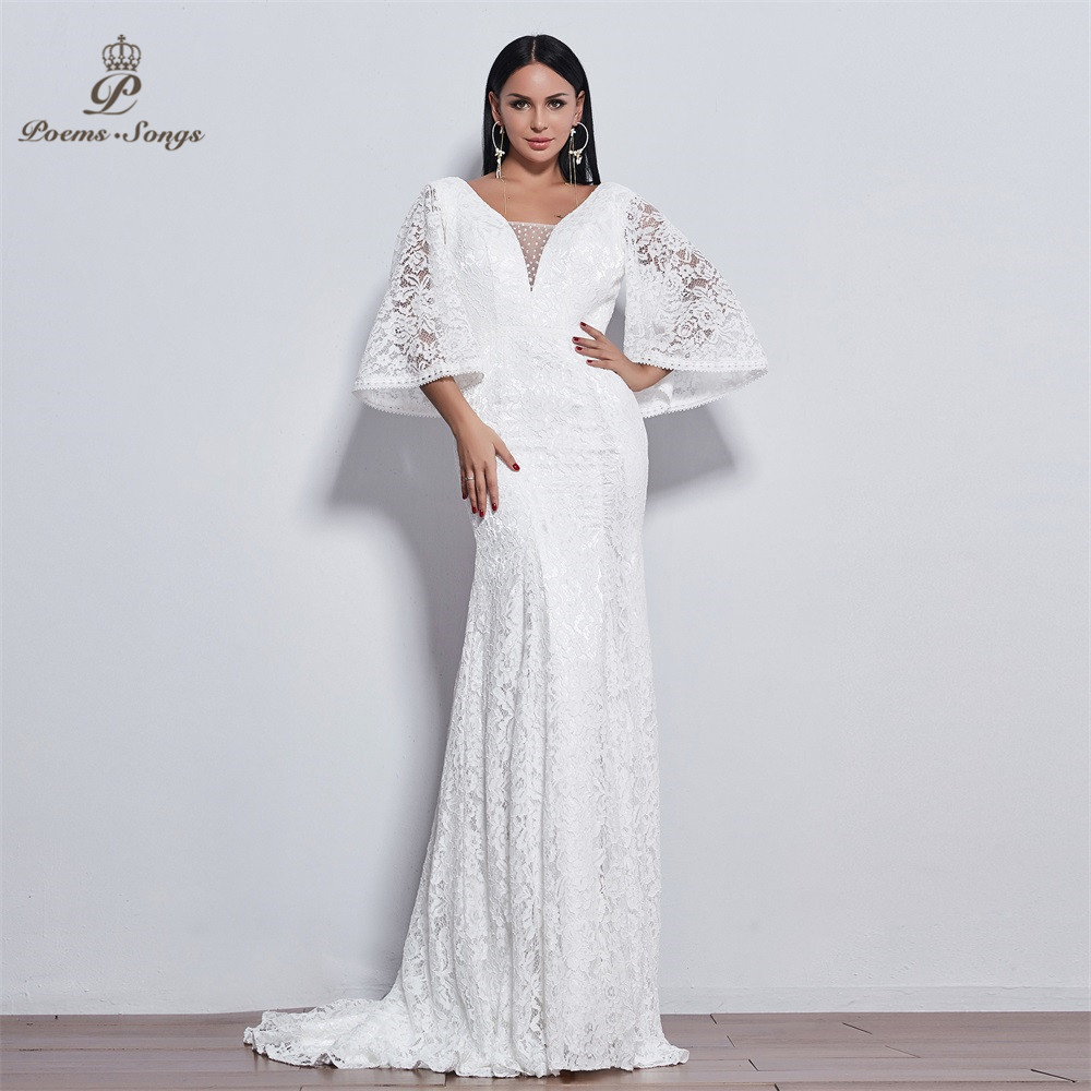PoemsSongs New  Flare Sleeve Style Lace Mermaid Wedding Dress 2020 For Wedding Vestido De Noiva  Ivory / White Color