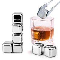 Whiskey Stones, Stainless Steel Ice Cubes with a Tong, Reusable Ice Cubes Chilling Stones Rocks for Wine,Beer,Beverage, Set of 8