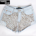 Pantalones cortos de mezclilla para Women2015 talle alto agujero del remache Mini Denim Short Jeans Shorts para mujeres mujeres Feminino más el tamaño S-XXXL LD17