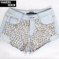 Shorts Jeans para Women2015 cintura alta buraco rebite Mini Denim Shorts Jeans para as mulheres Feminino Plus Size S-XXXL LD17