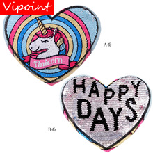 embroidery sequin unicorn heart patches for jackets,heart badges for jeans,appliques for backpack,A303 все цены