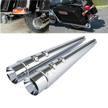 Chrome 4 Megaphone Slip-On Mufflers Exhaust For Harley Bagger Touring Models 1995-2016 Electra Glide Ultra Classic Road King велосипед electra amsterdam classic 3i mens 2016