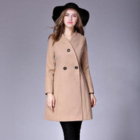 2019 New Women's High Quality Fashion Three Dutton V neck Slim Woolen Coat Wool Long Section
