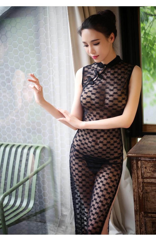 Сексуальные пижамы женские косплей эротическое сексуальное женское белье в стиле «Baby Doll» Черное Кружевное прозрачное китайское униформы Ципао спальный купальник