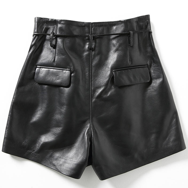 2019 новые модные женские пикантные черные из натуральной кожи овчины шорты для женщин кружево до Тонкий Высокое качество женские прямые - 2