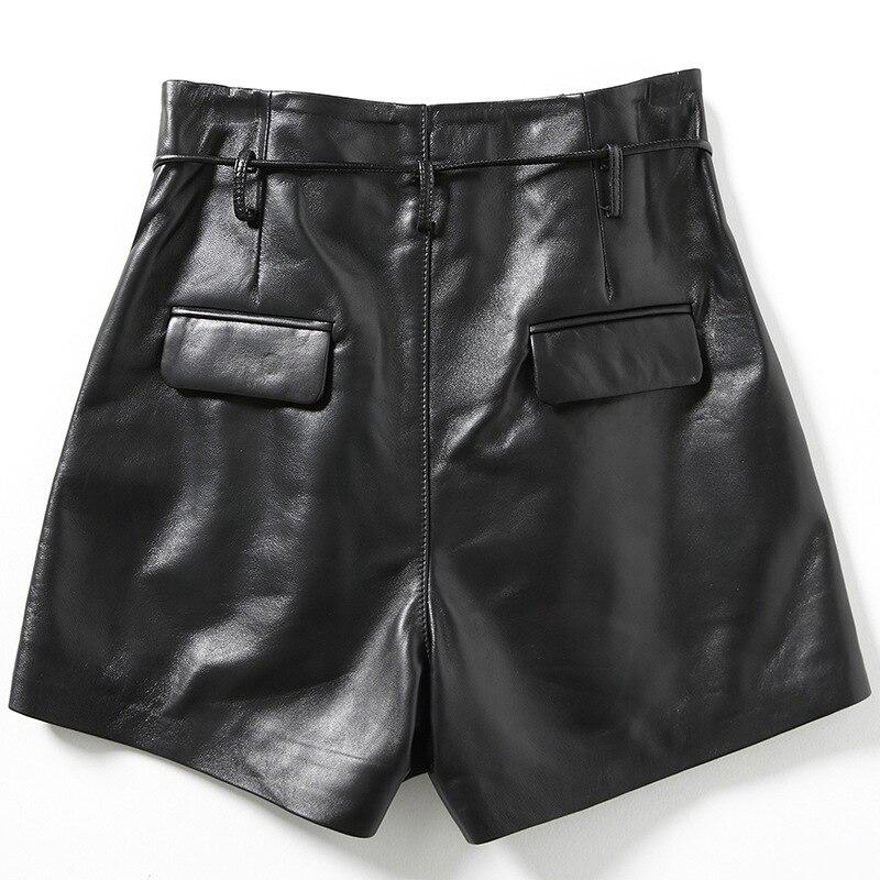 2019 Nova Moda Mulheres Sexy Preto de pele de Carneiro Shorts de Couro Genuíno Rendas Até Fino de Alta Qualidade do Sexo Feminino Bermudas Retas Saias 3XL - 2