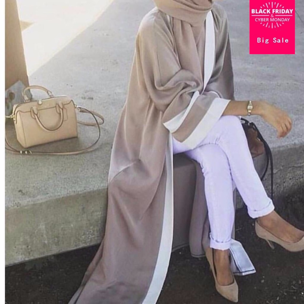Muslimah Adult Striped Printed Turkish Dubai Islamic Abaya Dress Cardigan Robes Arab Prayer Worship Service With Scarf Wj2162