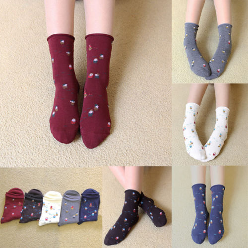 Christmas Womens Girls Winter Warm Cute Cartoon Rolled edge socks Cotton Hosiery Socks