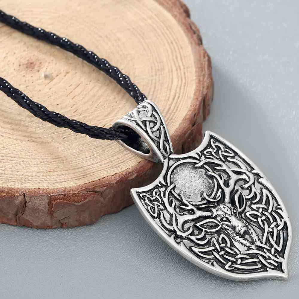 Chereda legendarny Viking Aegishjalmur Amulet wisior duży podwójne jelenie Sekira Nordic talizman naszyjnik