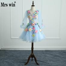 Quinceanera שמלות גברת Win ארוך שרוול מתוק פרחי כדור שמלת תחרה אלגנטי קצר צבעוני לנשף שמלת המפלגה Growns פורמליות