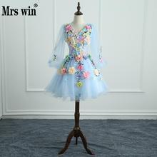 Quinceanera vestidos mrs win manga longa doce flores vestido de baile rendas elegante curto colorido vestido de baile festa formal crescimentos