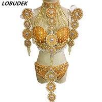 Для женщин ночной клуб Подиум для моделей Костюмы блестящие стразы бикини Золотые кристаллы Ленточки бюстгальтер шорты Бар наряд для вечер
