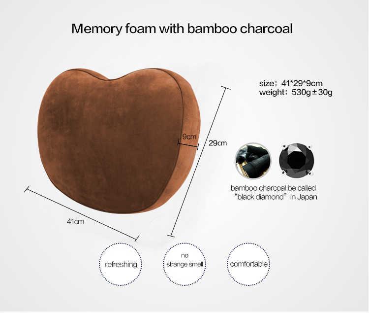 Carvão Vegetal de bambu da Forma Do Coração de Volta Da Cintura Do Carro Travesseiro Apoio Lombar Da Espuma Da Memória Almofada de Cadeira Escolar Escritório Em Casa Almofada Do Sofá