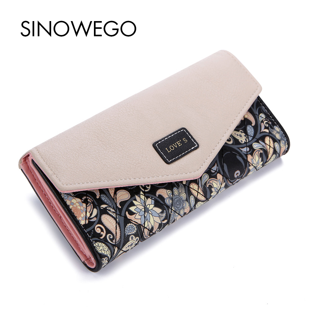 New 2017 Fashion Flower Embroidery Women Long Wallet Luxury Brand PU Leather Lady Clutch Purse Card Holder Female Envelope Bag  new arrive 1pc women lady faux leather clutch envelope wallet long card holder purse hollow hot