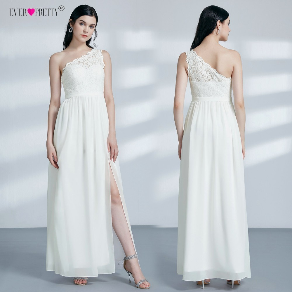 Ever-Pretty Wedding-Dresses Bridal-Gown Sleeveless Robe-De-Mariee Long One-Shoulder Chiffon