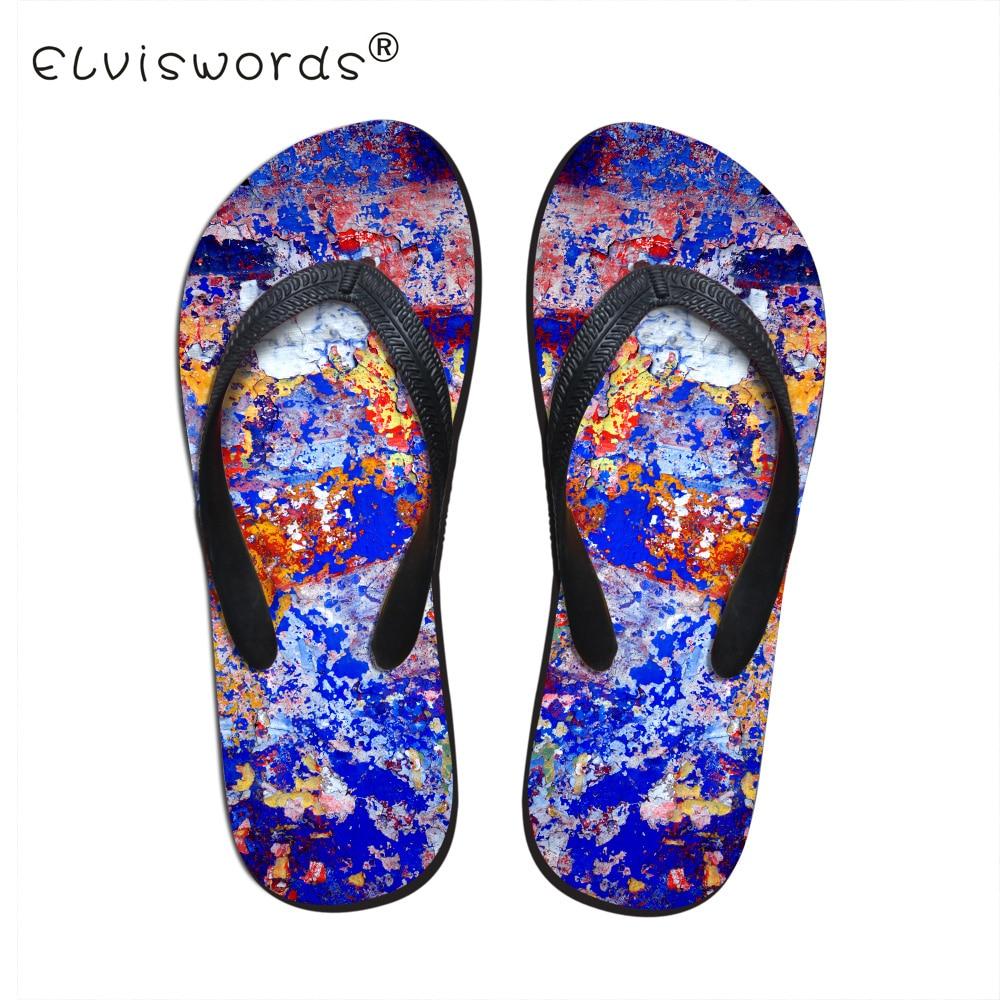 ELVISWORDS/мужские тапочки с принтом; мужские вьетнамки в винтажном стиле; парные туфли для подростков; модные шлепанцы без застежки; домашняя обувь - Цвет: C0625AB