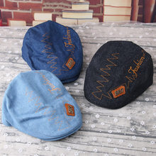 66752e73762 Cotton Beret Hat Baby Boy Girl Newsboy Cap Summer Autumn Children Denim Jean  Stripe Flat Caps