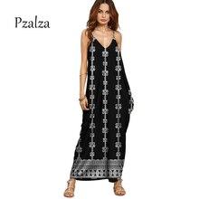Pzalza Vintage Summer Dress 2017 Black Casual Loose Beach Spaghetti Strap Boho Long Dress Women Ethnic  Chiffon Maxi Dress Rode