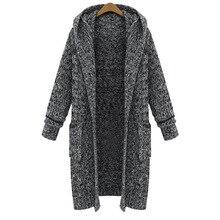 2019 new style long open stitch hooded knit coat woman winter and autumn wide-waist knit female long coat multi stripe open knit tee