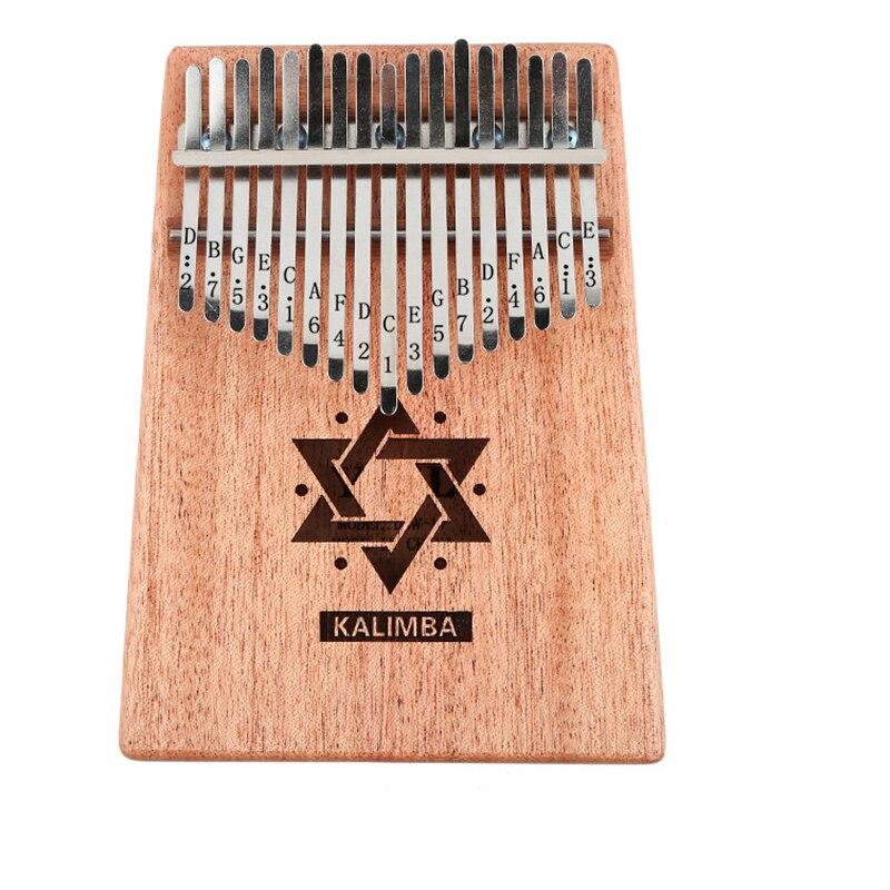 17 Teclas Kalimba Caoba Pulgar Africano Piano Dedo Percusión Mbira Teclado Natural Instrumento Musical Marimba Madera Maciza