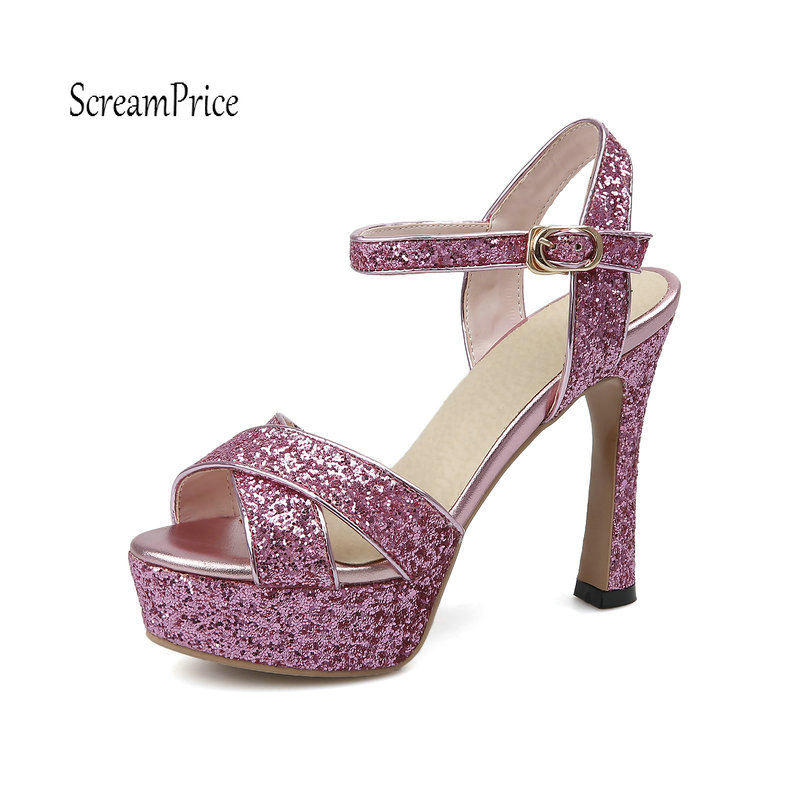 Women Sparkling High Heels Square Heel Platform Sandals Fashion Buckle Strap Party Shoes Woman Black Silver Pink xiaying smile summer new woman sandals platform women pumps buckle strap high square heel fashion casual flock lady women shoes page 1